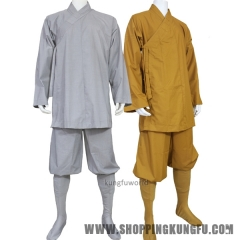 Shaolin Monk Kung fu Uniform Buddhist Robe Meditation Farming Suit