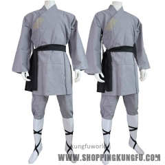 High Quality Cotton Gray Color Shaolin Monk Robe Kung fu Martial arts Wushu uniform