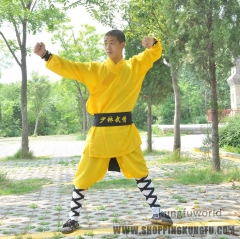 Yellow Polyester Shaolin Monk Performance Costume Martial arts Uniform Kung fu Suit