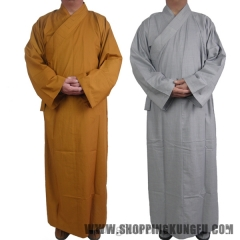 Cotton Shaolin Temple Buddhist Monk Dress Meditation Long Robe Kung fu Suit