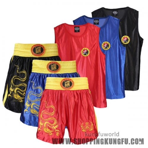 Popular Glossy Satin Sanda Boxing Suit Kung fu Uniform with Dragon Embroidery