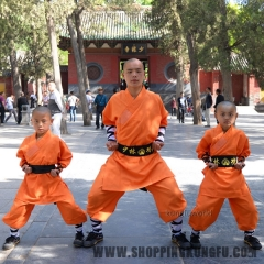 Durable Orange Shaolin Monk Uniforms Kung fu Suit Tai chi Martial arts Clothes
