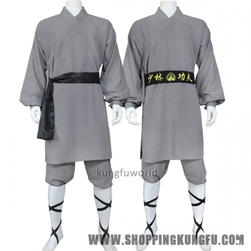 Dark Gray Linen Shaolin Monk Robe Kung fu Uniform Martial arts Tai chi Suit