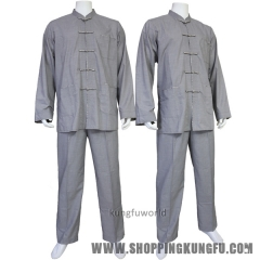 Gray Cotton Buddhist Monk Meditation Uniform Shaolin Kung fu Tai chi Suit