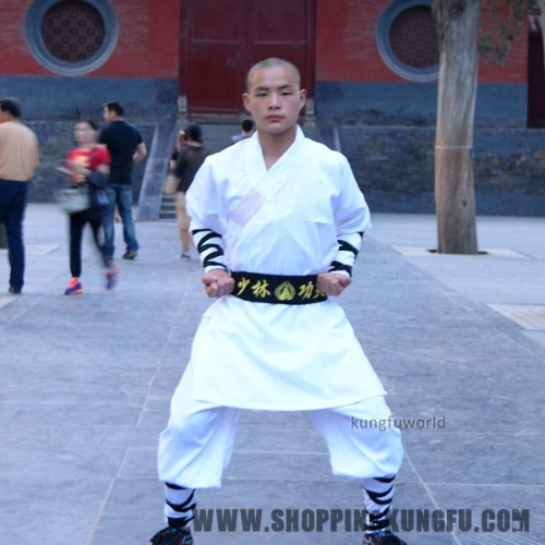 White Shaolin Monk Robe Kung fu Suit Tai chi Martial arts Wing Chun Uniforms