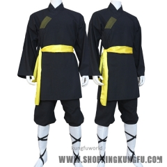 Black Cotton Shaolin Monk Robe Kung fu Wushu Suit