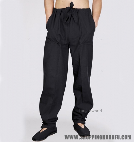Black Cotton Casual Tai chi Kung fu Pants Martial arts Wing Chun Wushu Trousers