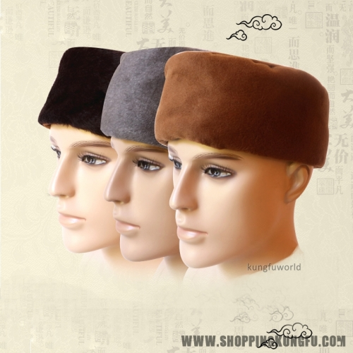 Warm Velvet Buddhist Monk Winter Hat Zen Meditation Cap for Buddhism Uniform
