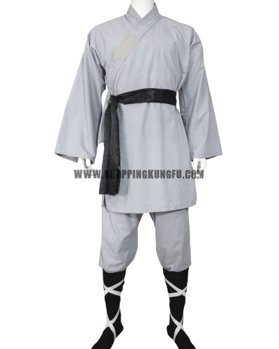 gray cotton shaolin monk suit with black socks