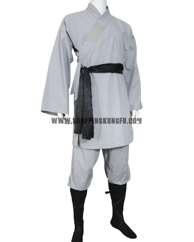 gray cotton shaolin monk suit with black belt/socks/leg wraps
