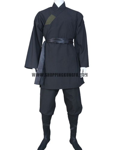black cotton shaolin monk suit with black belt/socks/leg wraps