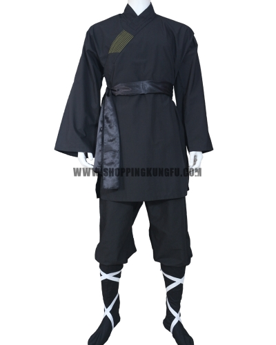 black cotton shaolin monk suit