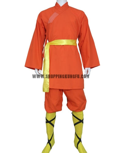 orange cotton shaolin monk uniform with yellow socks