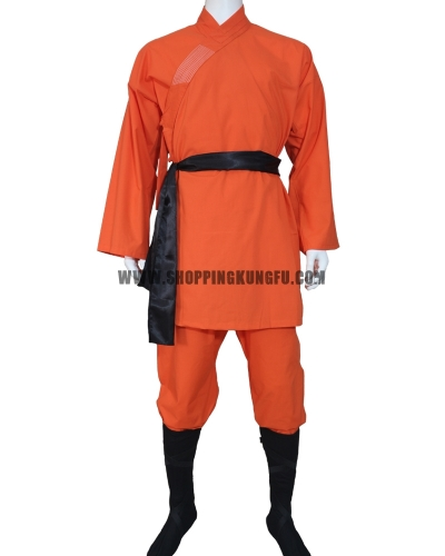 orange cotton shaolin monk suit with black belt/socks/leg wraps