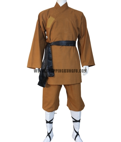 earthy brown cotton shaolin monk suit