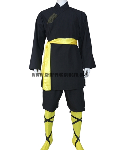 black cotton shaolin kung fu suit with yellow belt/socks