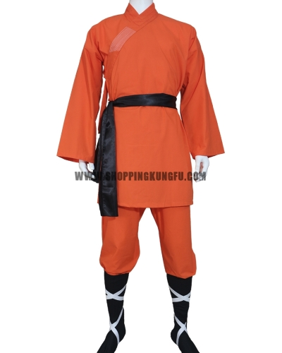 orange cotton shaolin monk suit with black socks