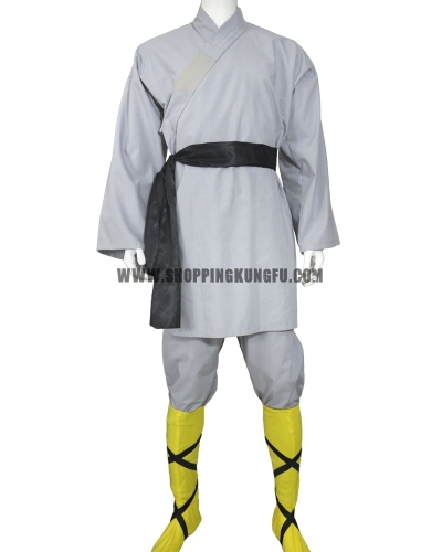 Gray cotton shaolin monk training suit