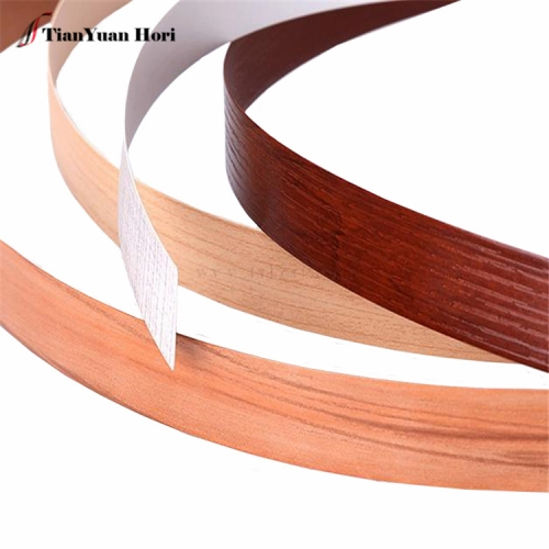 China Manufacturer fittings for cabinet furniture pvc wood grain thin edge banding