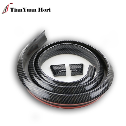 Black Color Carbon Fiber Front Rear Bumper Rubber Strip Spoiler Suitable for Most Cars