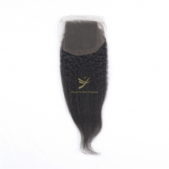 Hot Selling 100% Raw Hair 4*4 Lace Closure KINKY STRAIGHT