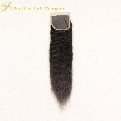 Hot sale 100% Virgin Hair 4*4 lace closure KINKY STRAIGHT