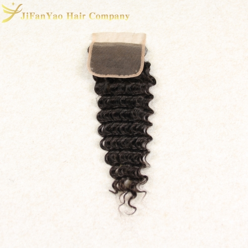 Hot sale 100% Virgin Hair 4*4 lace closure DEEP WAVE