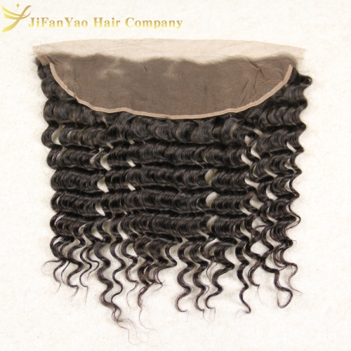 JiFanYao Hot sale 100% Virgin Hair 13*4 lace Frontal DEEP WAVE