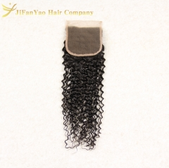 Hot sale 100% Virgin Hair 4*4 lace closure JERRY CURLY