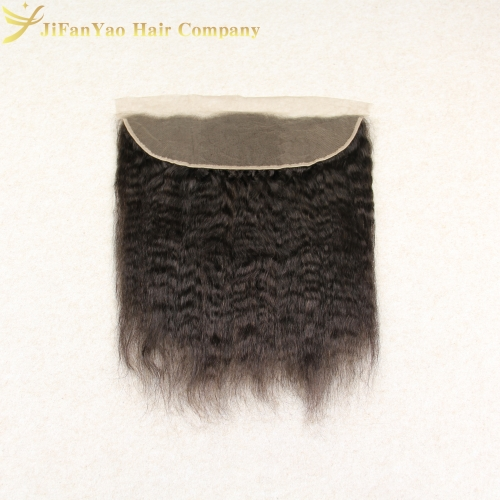 JiFanYao Hot sale 100% Virgin Hair 13*4 lace Frontal KINKY STRAIGHT