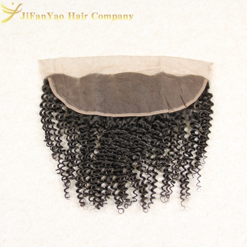 JiFanYao Hot sale 100% Virgin Hair 13*4 lace Frontal KINKY CURLY