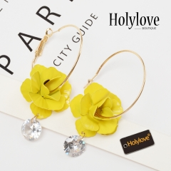 Holylove Flower Hoop Stud Earrings for Women Bridal Wedding Novelty Fashion Jewelry Accessories 1 Pair with Gift Box