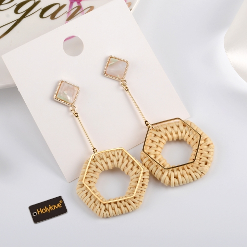 Holylove Rattan Earrings for Women Square Statement Handmade Straw Wicker Braid Daily Wedding Party Club Holiday 1 Pair with gift box