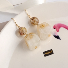 Holylove Marble Puncture Drop Dangle Statement Earrings for Women Daily Wedding Party Club Holiday 1 Pair with gift box
