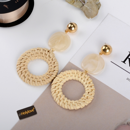 Holylove Rattan Earrings for Women Hoop Statement Handmade Straw Wicker Braid Puncture Drop Dangle Party Wedding Daily Club Holiday 1 Pair with gift b