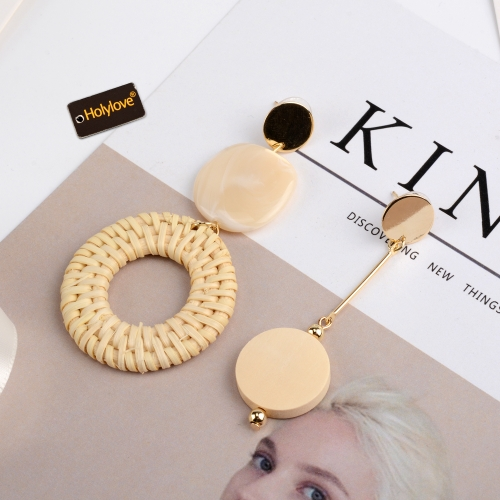 Holylove Rattan Earrings for Women Hoop Statement Handmade Straw Wicker Braid Daily Wedding Party Club Holiday 1 Pair with gift box