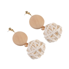 Holylove Rattan Earrings for Women Handmade Straw Wicker Braid Drop Dangle Statement Earrings for Women Daily Wedding Party Club Holiday 1 Pair