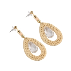 Holylove Rattan Earrings for Women Statement Drop Handmade Straw Wicker Braid Daily Wedding Party Club Holiday 1 Pair with gift box