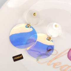 Holylove Novel Colorful Transparent Puncture Drop Dangle Statement Earrings for Women Daily Wedding Party Club Holiday 1 Pair with gift box