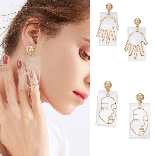 Holylove Novel Human Face Hand Puncture Drop Dangle Statement Earrings for Women Daily Wedding Party Club Holiday 1 Pair with gift box