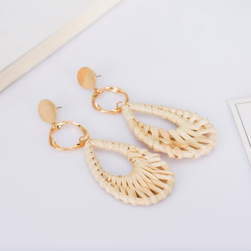 Holylove Rattan Earrings for Women Drop Statement Handmade Straw Wicker Braid Daily Wedding Party Club Holiday 1 Pair with gift box