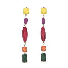Holylove Simple Drop Dangle Colorful Wood Tassel Statement Earrings for Women Daily Wedding Party Club Holiday 1 Pair with gift box
