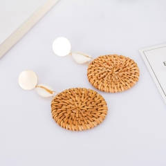 Holylove Rattan Earrings for Women Round Statement Handmade Straw Wicker Braid Daily Wedding Party Club Holiday 1 Pair with gift box