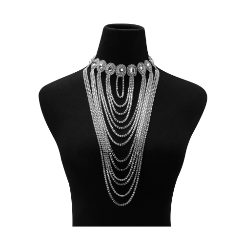 Holylove Statement Necklace for Women Vintage Retro Jewelry Rhinestone Layers Pendant Choker Silver Chain 1pc with Gift Box