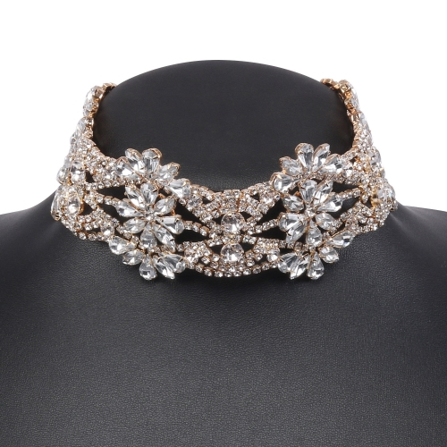 Holylove 3 Color Chunky Choker Shiny Bling Crystal Necklace for Women Jewelry Wedding Party Daily Accessories 1 Piece with Gift Box