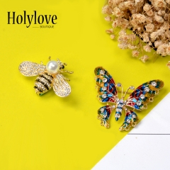 Holylove Brooches Pins Butterfly Bee for Women Girl Men Wedding Formal Daily Photograph Bride Bridegroom Crafts 2pcs with Gift Box