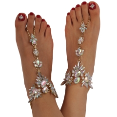 Holylove Foot Jewelry for Women Barefoot Sandals Beach Crystal Anklets Chains Wedding Vocation 1 Pair with Gift Box