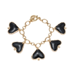 Holylove Statement Simple Fashion Bracelet for Women Black Love Party Wedding Daily Club Holiday 1 Pair with Gift Box