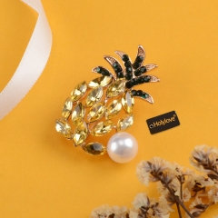Holylove Enamel Pineapple Brooches Rhinestone Pearl for Women Men Summer Party Vocation Prom Gift