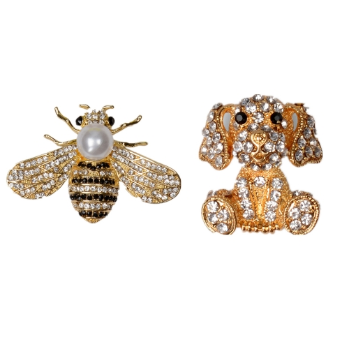 Holylove Enamel Bee Dog Puppy Animal Brooches Rhinestone Pearl for Women Men Summer Party Vocation Prom Gift